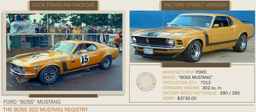 1970 Ford Boss Mustang 302 SCCA RaceCar